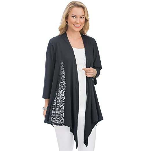 Women s Lace Inset Knit Draped Open Front Cardigan Flyaway Sweater w  3 4  Sleeves at Amazon Women s Clothing store  466439ca5
