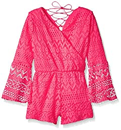 Kensie Big Girls\' Short Romper, 2877-Neon Pink, 14/16