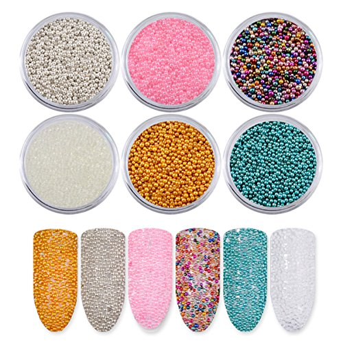 Mezerdoo 6Pcs Mini Ball Caviar Bead 3D Nail Decoration Micro Colorful Studs Crystal Beads for Nails Nail Supplies Nail Art - Supplies Acrylic Wholesale Nail