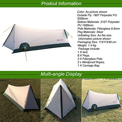 Ultralight Ourtdoor C&ing Tent 1 Person Portable Waterproof Hiking Tent Lightweight 3 Season Backpacking Bivvy Tent only 2.8lbs Amazon.co.uk Sports u0026 ...  sc 1 st  Amazon UK & Ultralight Ourtdoor Camping Tent 1 Person Portable Waterproof ...