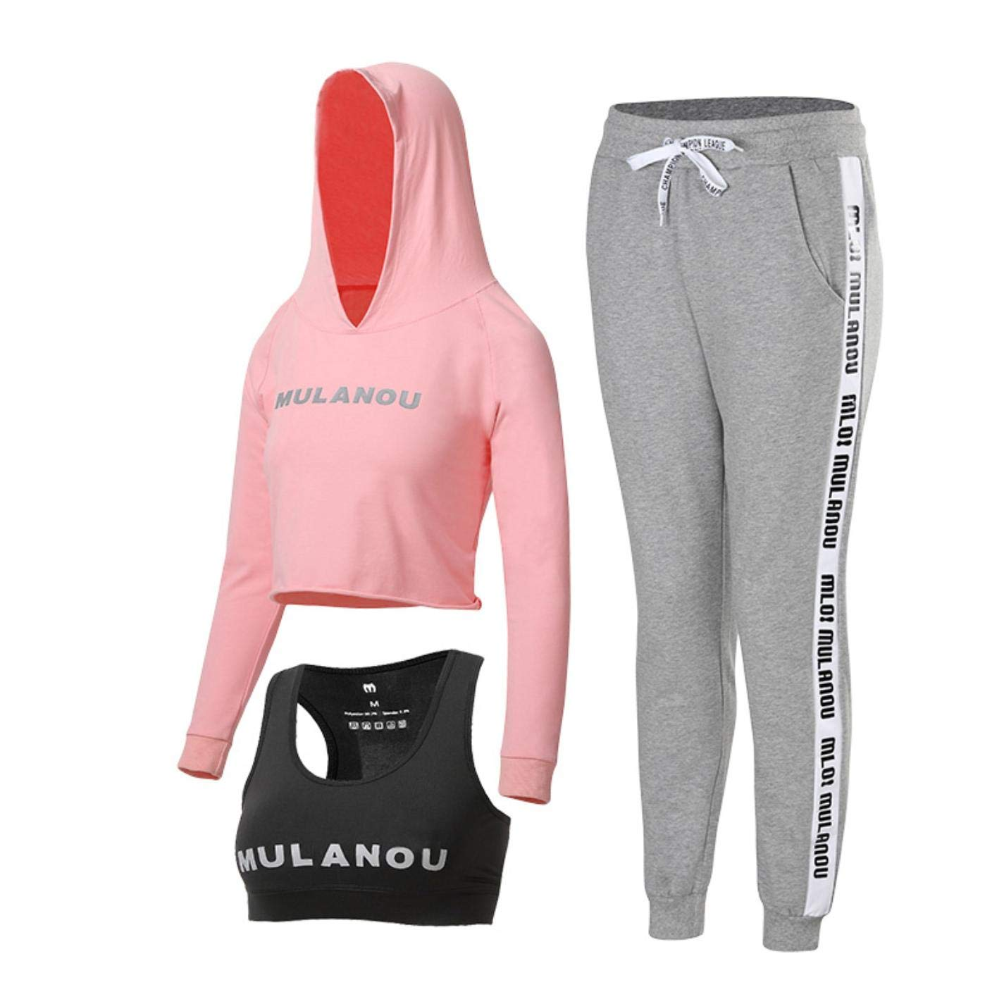 Women Letter Yoga Sports Set Tracksuit 3pcs Hooded Long Sleeve Gym