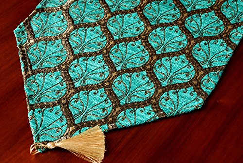 "Gold Case Table Runner 69x14(175cm x 37cm) Luxury Peacock Series (Blue) - Decorative Triangular Ended in both ends Table Runner with Attractive Unique Peacock Design & Colors Dimension : 69""L x 14""W (175cm x 37cm) Multiple color choice to suit your table better. Please search our other models close to this items in our amazon shop! - table-runners, kitchen-dining-room-table-linens, kitchen-dining-room - 61h4CcBWooL -"