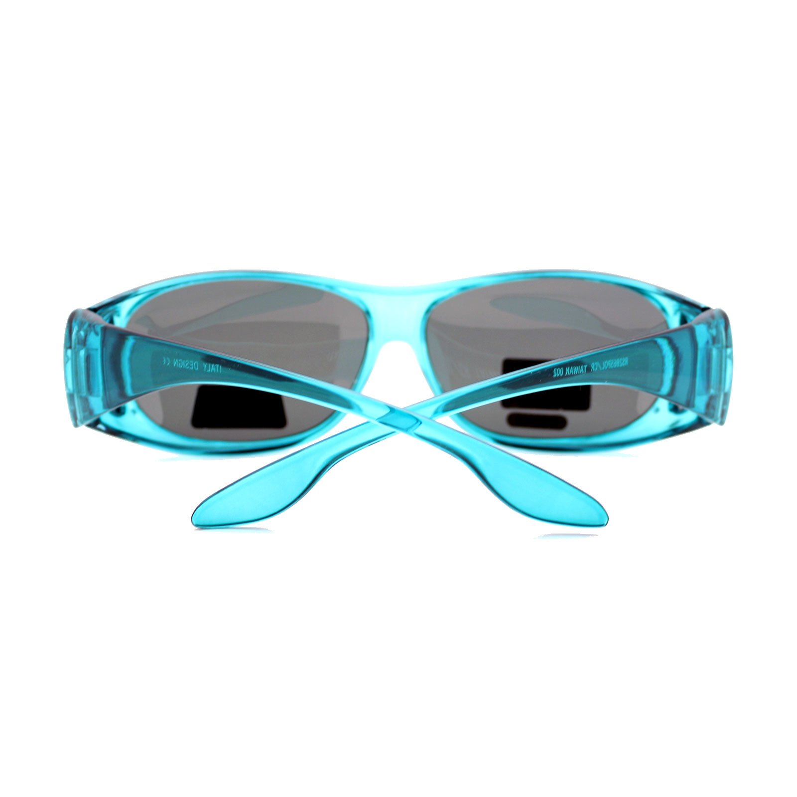 Womens Polarized Fit Over Glasses Rhinestone Sunglasses Oval Rectangular Teal by PASTL (Image #3)