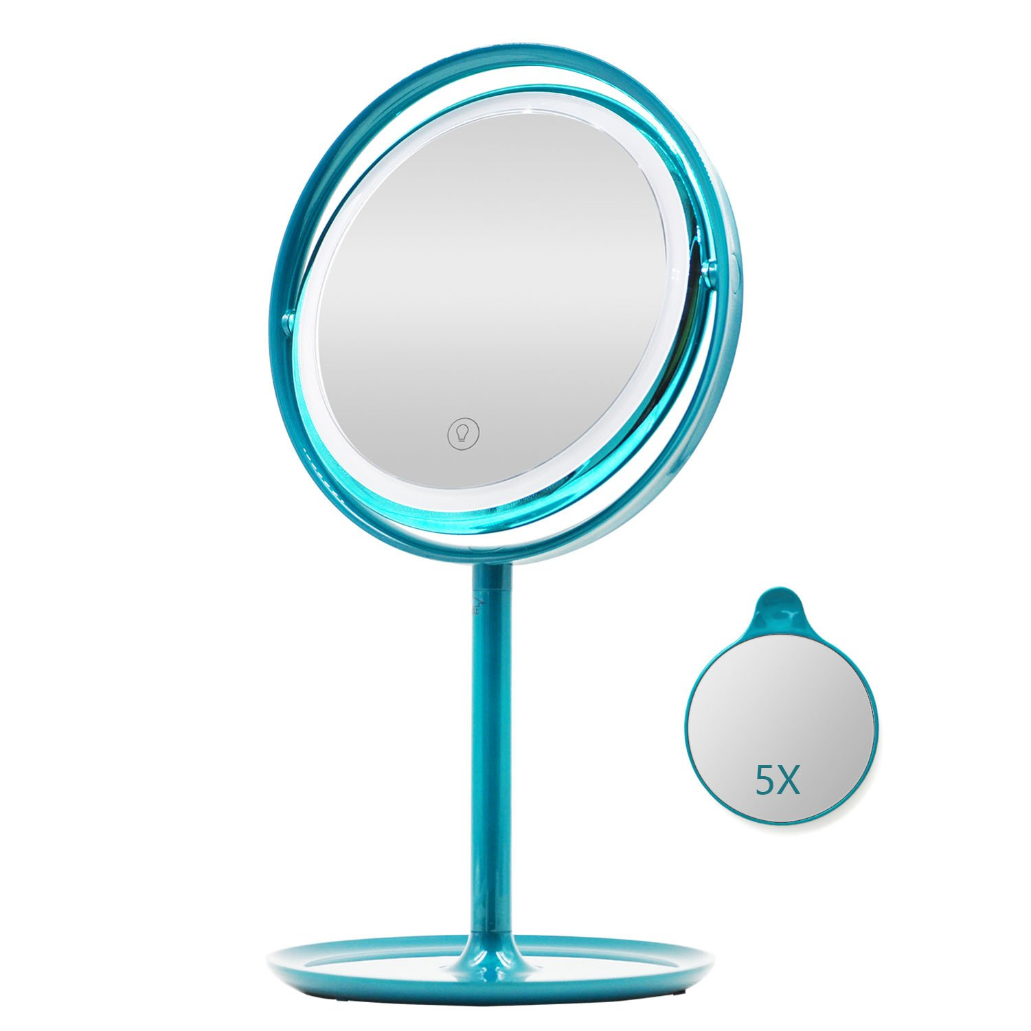 UPHAN U7 Surgical Grade Lighted Makeup Mirrors, 7 inch Luxury Dual Light Color Dimming Light with 5X Detail Mirror, Malachite green ¡­ (Surgical Grade) by UPHAN (Image #1)