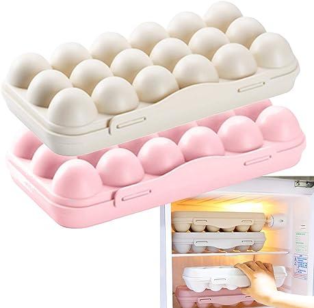Caja de Almacenamiento de Huevos,2 Piezas Envase para Huevos,Bandeja de Pl/ástico para Huevos,Envase para Huevos con Tapa con Capacidad,12 Huevos Contenedor,para Almacenamiento de Huevos Rosa,Gris