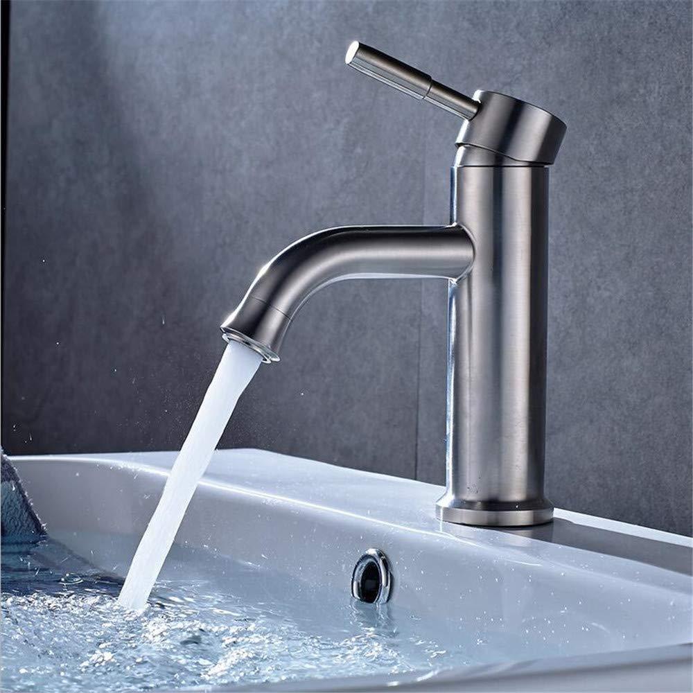 Waschtischarmaturen 304 Edelstahl Gebürstet Bad Waschbecken Wasserhahn Neue Unter Kühlbecken Heißer Und Kalter Wasser Mischer