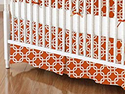 SheetWorld - Crib Skirt (28 x 52) - Orange Links - Made In USA