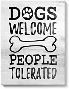 Gronda Inspirational Quote Wall Art Canvas Saying Art Painting Framed Motivational Artwork Funny Humourous Dog Sign for Living Room Kitchen Garden 12x16 Inch,Dogs Welcome People Tolerated