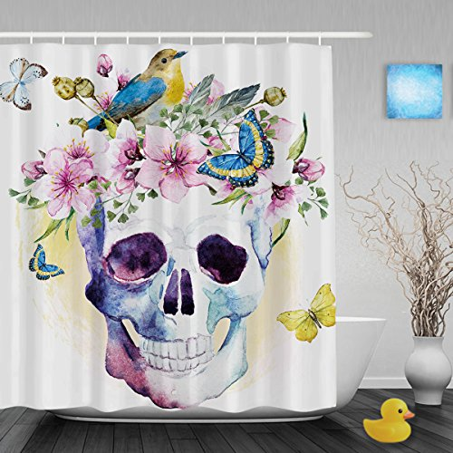 Halloween Accessories London (Skull With Blooming Flower Birds Bathroom Shower Curtains Beautiful Dead For Halloween Decor Shower Curtain Mildew And Fade Resistant Ployster Fabric 72