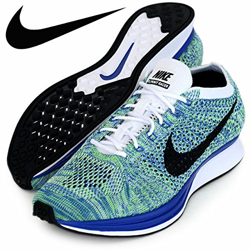 Nike Mens Flyknit Racer, White/black-game Royal-green Strk Mens Size 6 Womens Size 7.5 ()