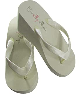 aa262d1e2 Bridal Wedge Flip Flops Ivory White 1 2 3.5 inch Heel Womens Bridal Wedding  Platform