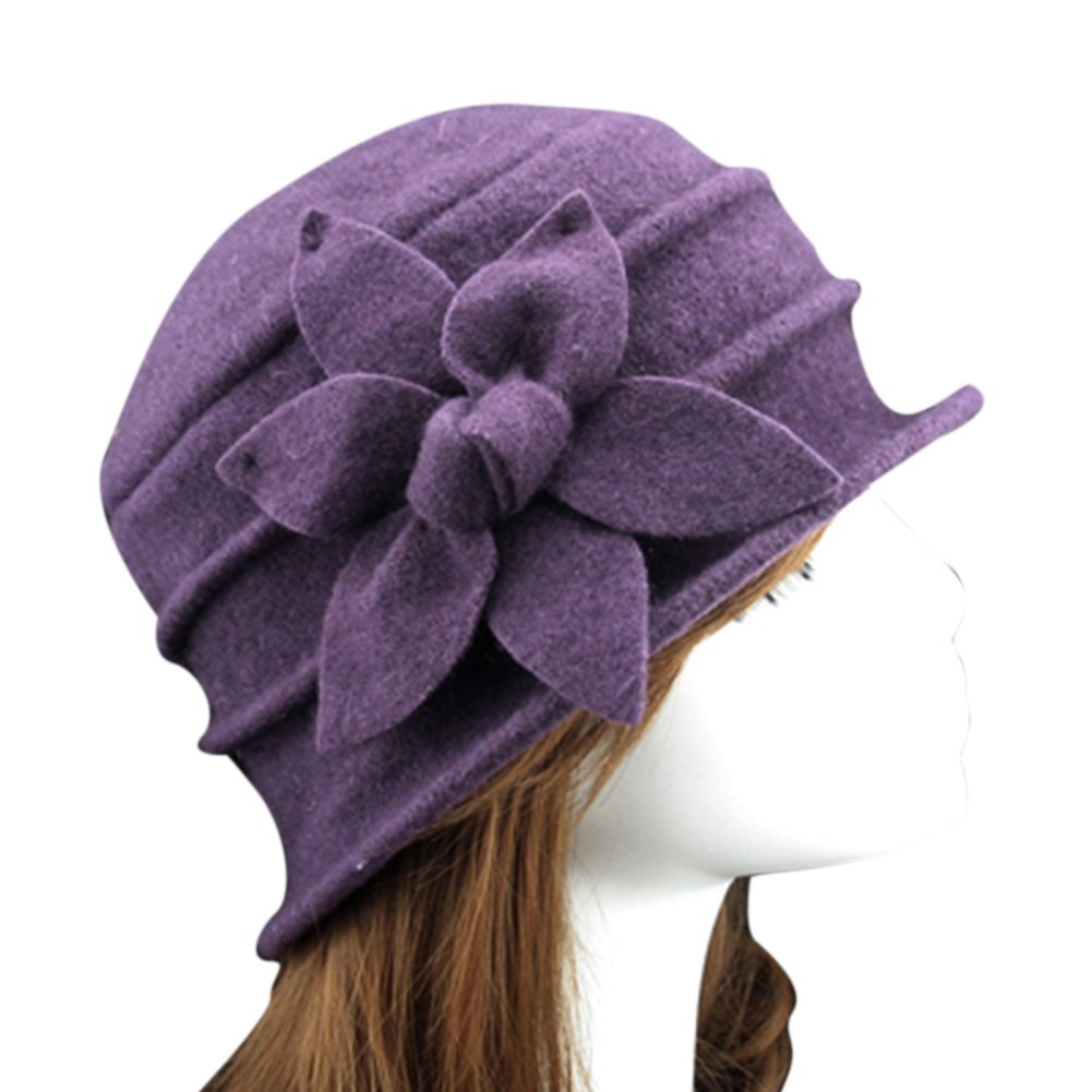 99cd47685ddf4 Ealafee Women 100% Wool Solid Color Round Top Cloche Beret Cap Flower  Fedora Hat ACAP8
