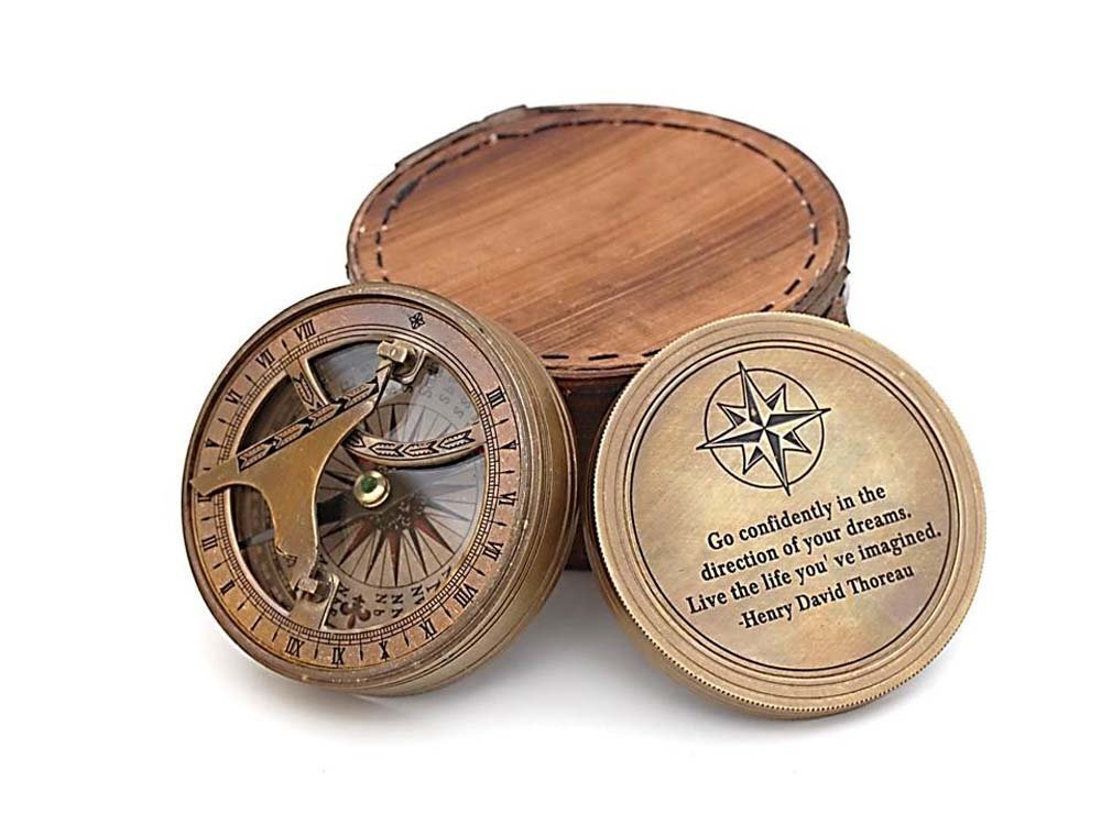 Roorkee Vintage Brass Compass with Leather Case/ Henry David Thoreau Directional Magnetic Compass for Navigation/Sundial Pocket Compass for Camping, Hiking, Touring