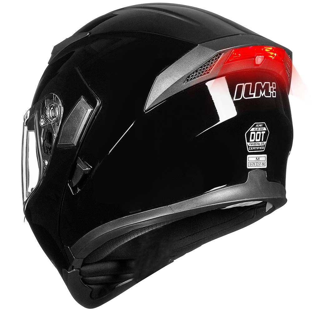 ILM Motorcycle Dual Visor Flip up Modular Full Face Helmet DOT LED Light (S, GLOSS BLACK - LED) by ILM