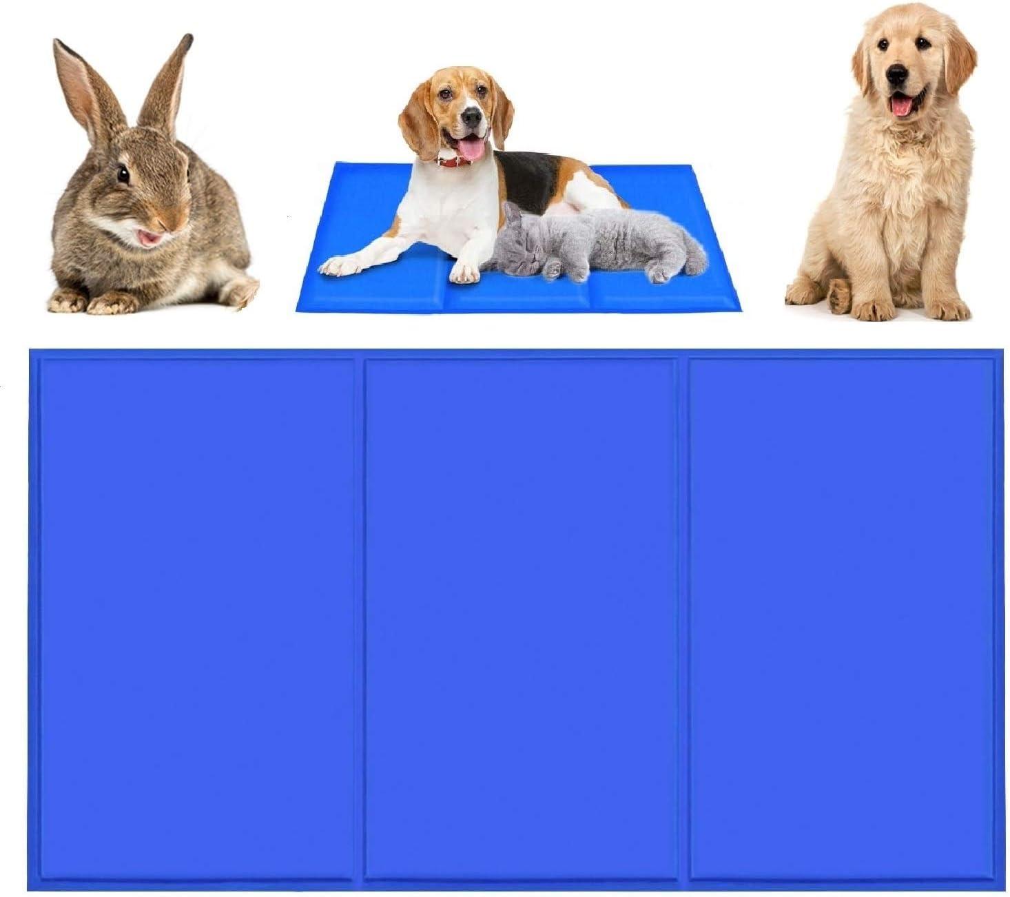 Qisiewell Esterilla de refrigeración para perros y gatos, color azul, L 90 x 50 cm, para perros y gatos, cojín de refrigeración refrigerante, manta de gel frío, para gatos y perros