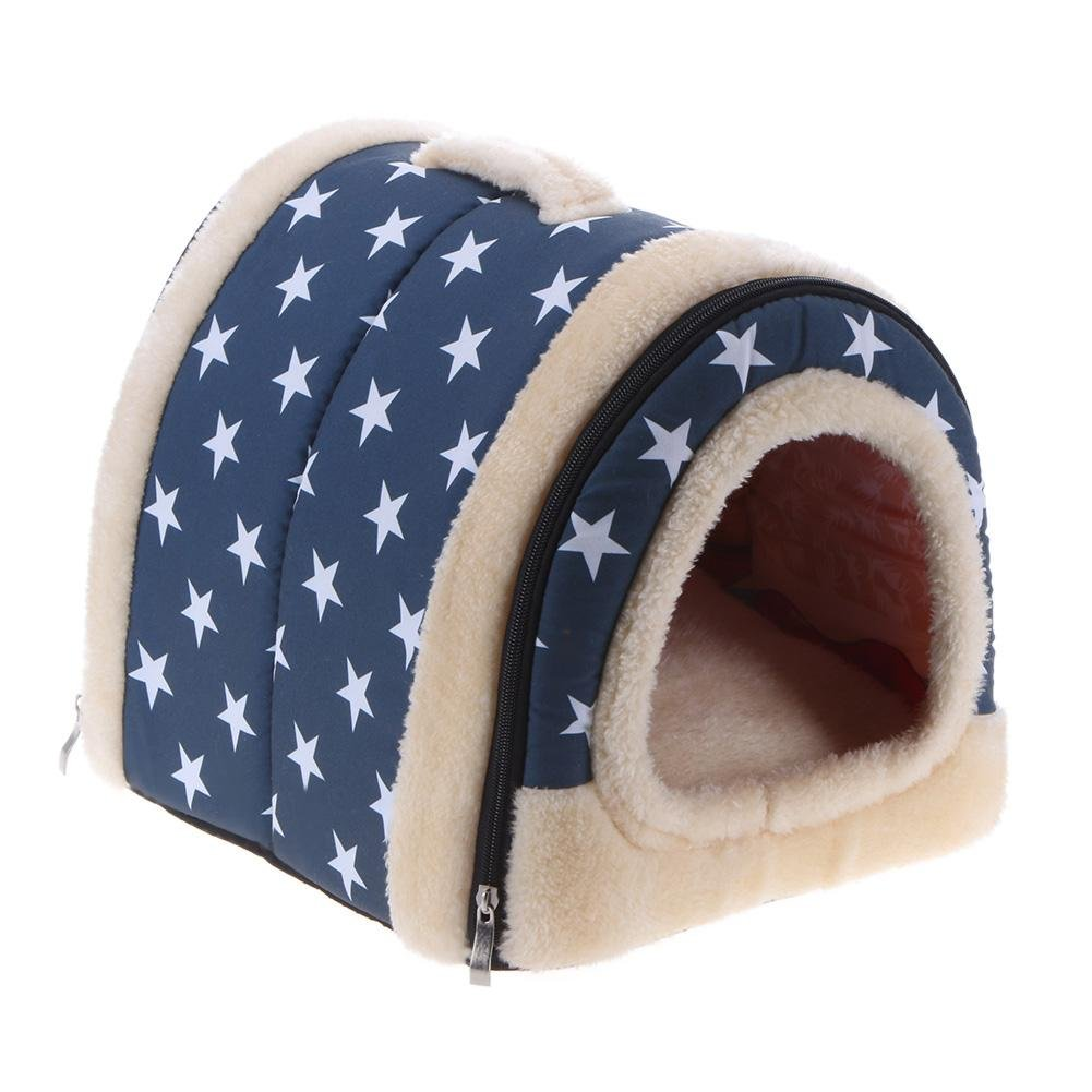bluee M bluee M Jocestyle Pet Bed House Foldable Warm Nest with Mat for Pet Dogs Cats Travel Bed Bag