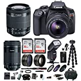 Canon EOS Rebel T6 Digital Camera: 18 Megapixel 1080p HD Video DSLR Bundle with 18-55mm & 55-250mm Lens 48GB SD Card TTL Flash Tripod Bag & Charger - Professional Vlogging Sports & Action Cameras