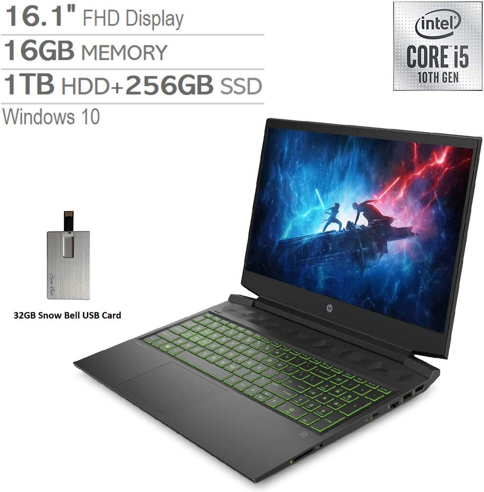 "2020 HP Pavilion 16.1"" FHD 144Hz Gaming Laptop Computer, Intel Core i5-10300H, 16GB RAM, 1TB HDD+256GB SSD, Backlit Keyboard, B&O Audio, HD Webcam, GeForce GTX 1660 Ti, Win 10, Black, 32GB USB Card"