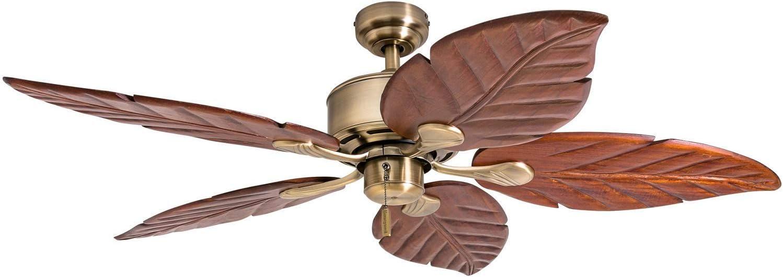 "Honeywell Ceiling Fans 50502-01 Sabol Palm 52"" Ceiling Fan, Aged Brass"
