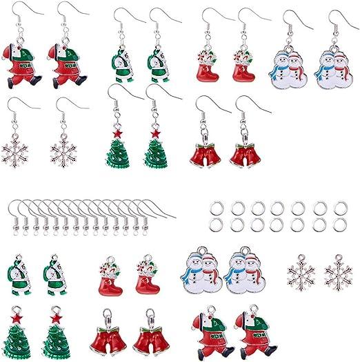 1 Snowman Wooden Charm Bead Bracelet Kit Snowflake