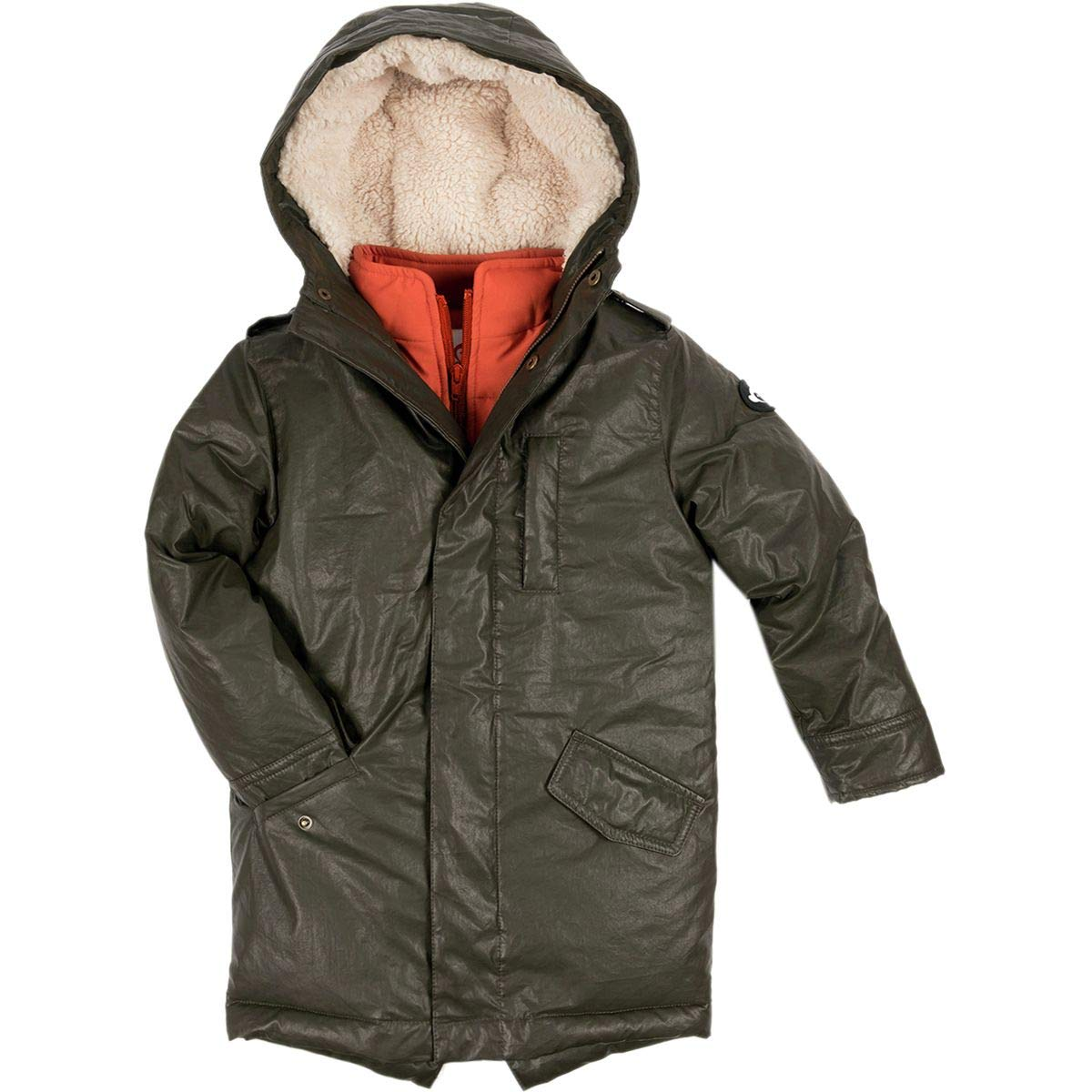 Appaman Kids Mens Extra Soft Lined Zip and Button Up Himalaya Down Coat with Hood (Toddler/Little Kids/Big Kids)