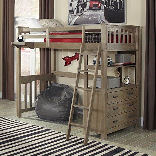 NE Kids Highlands Twin Loft Bed with Desk in Driftwood