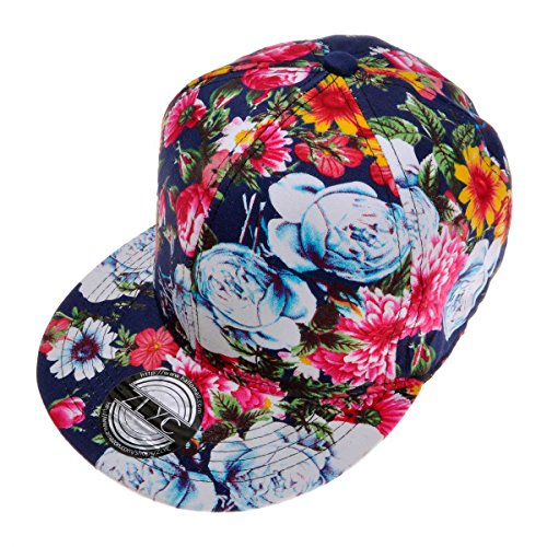 ZLYC Women Fashion Floral Print Adjustable Casual Snapback Baseball Cap Hat (Denim Blue)