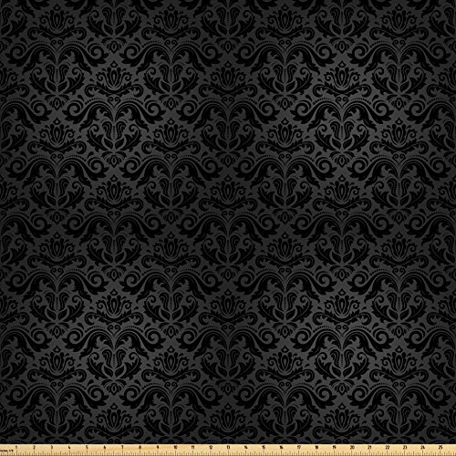 Ambesonne Dark Grey Fabric by the Yard, Black Damask Arabesque and Floral Elements Oriental Antique Ornament Vintage, Decorative Fabric for Upholstery and Home Accents, Black Grey