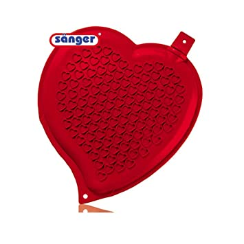 W/ärmflasche in Herzform mit Pl/üschbezug in Rot