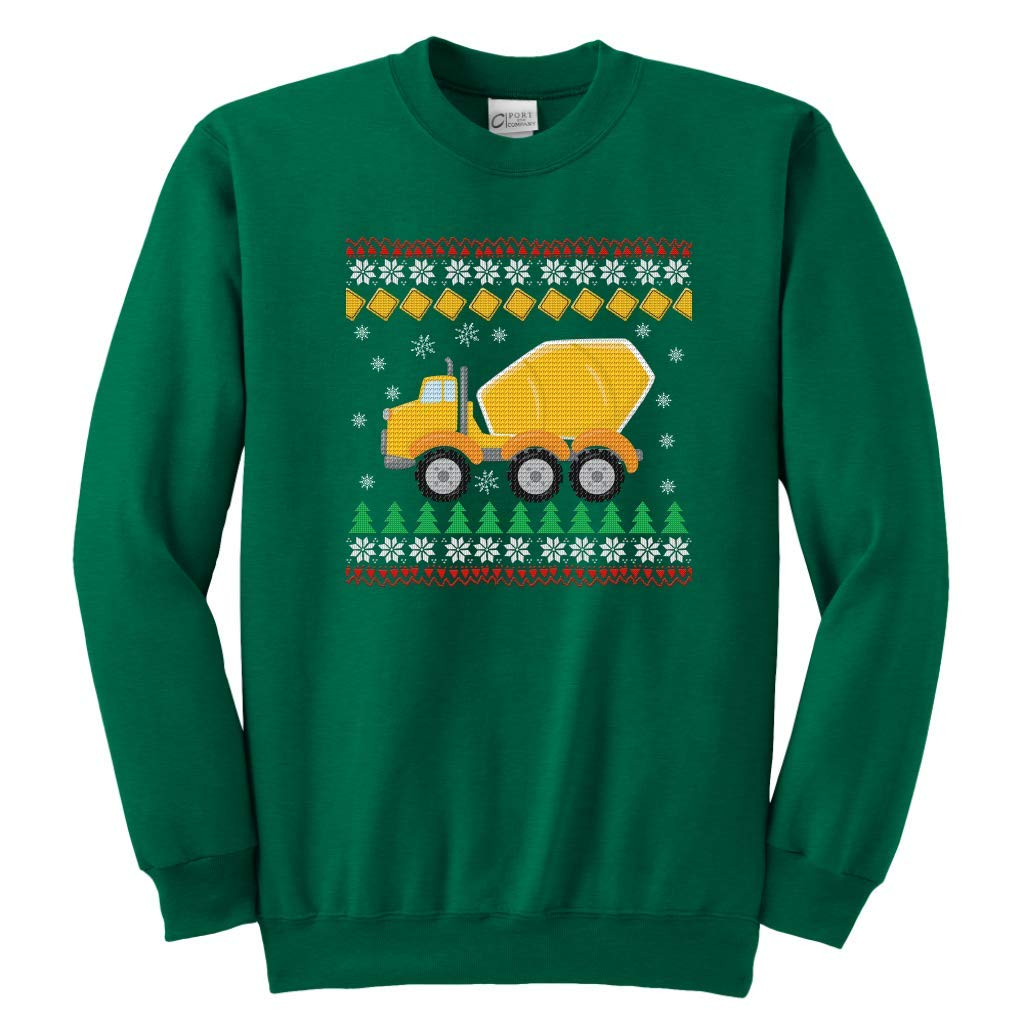 Christmas Kids Sweatshirt Sweater Yellow Cement Truck Ugly Style Winter Gift