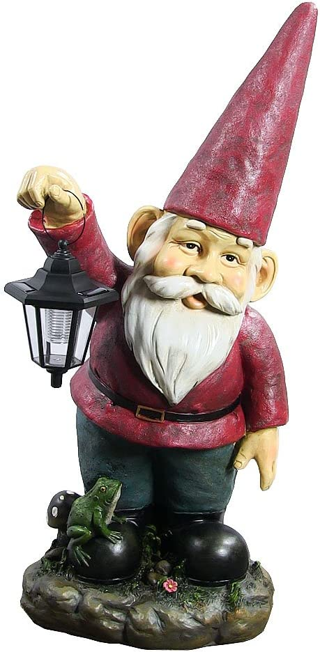 Amazon Com Sunnydaze Garden Gnome Sammy The Solar Lantern Lawn Statue Large Outdoor Yard Figurine 29 Inch Tall Sunnydaze Decor Kitchen Dining