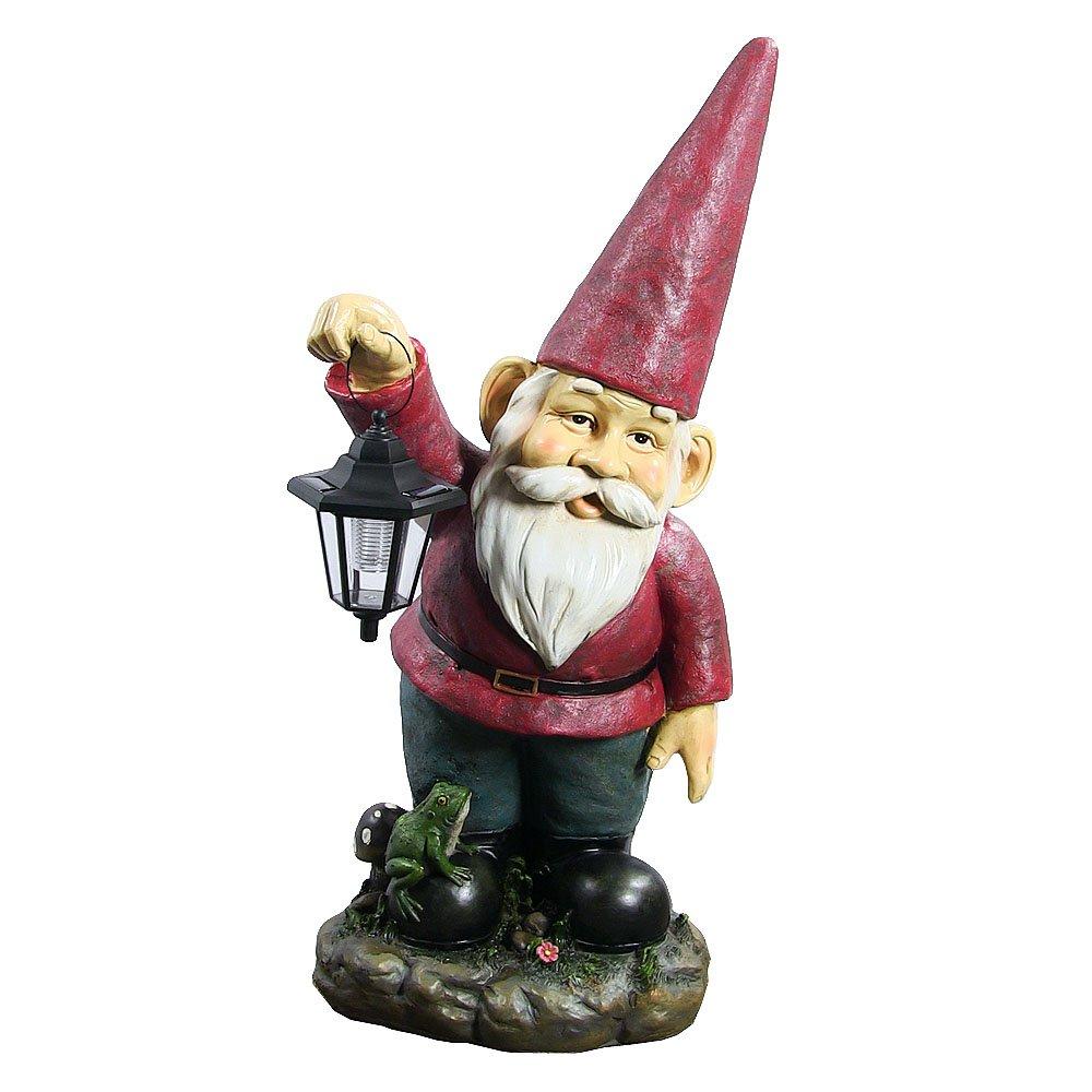 Sunnydaze Garden Gnome Sammy The Solar Lantern Lawn Statue, Large Outdoor Yard Figurine, 29 Inch Tall