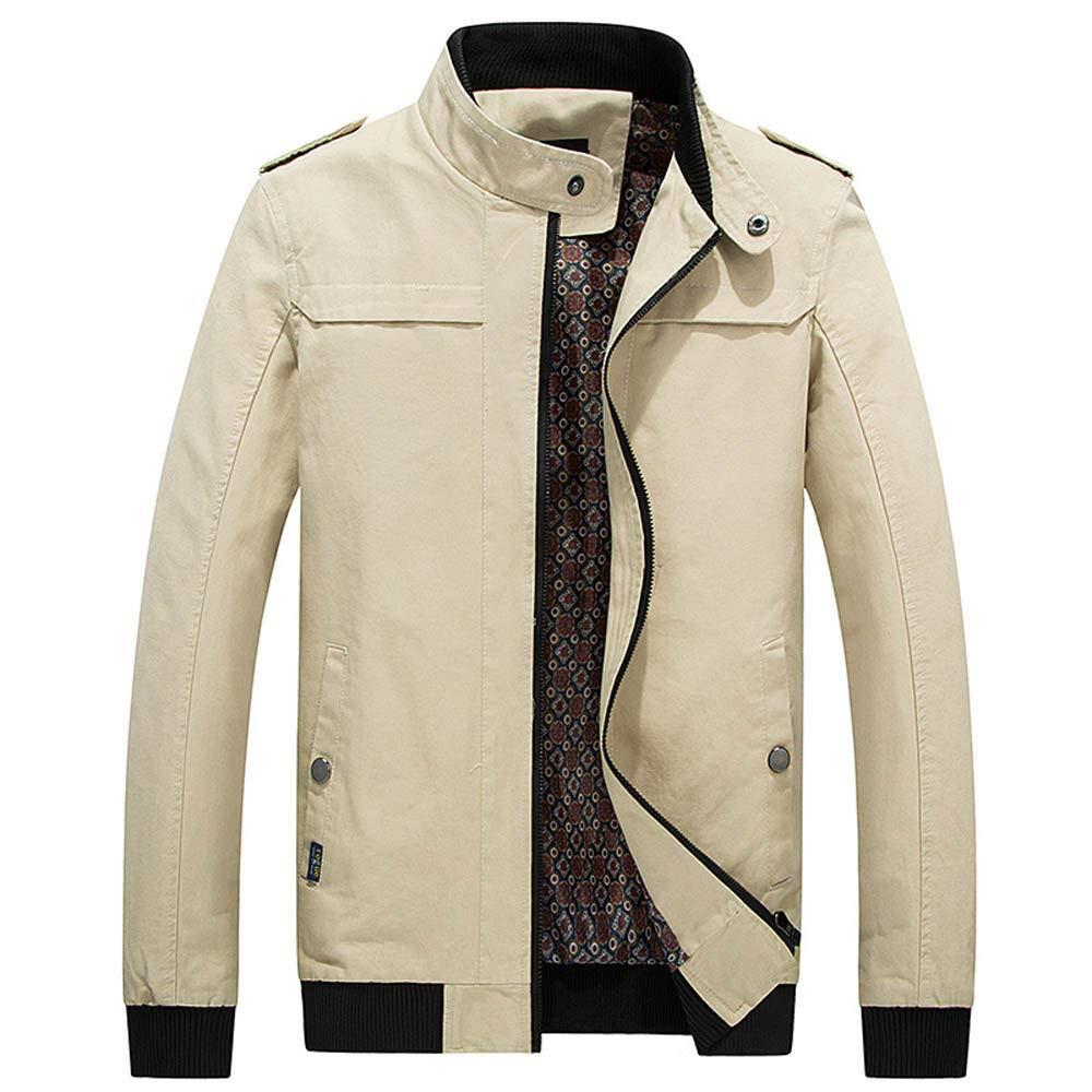 kemilove Men's Long Sleeve Jacket Winter Long Sleeve Warm Zip Pocket Slim Coat Outwear Wind Jacket