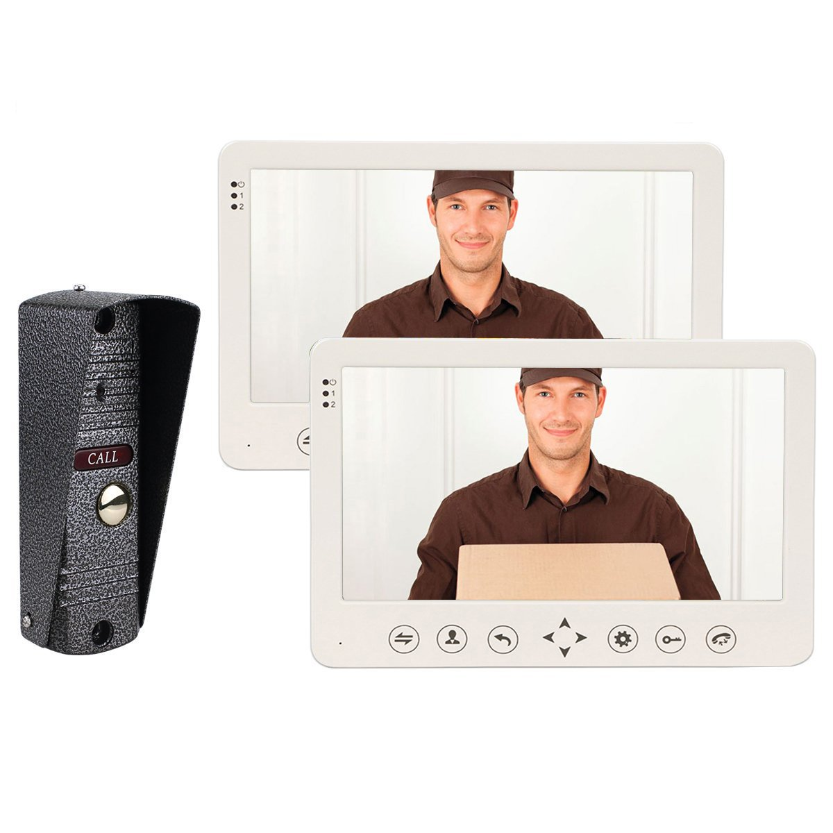 TIVDIO CP80 Video Door Phone Intercom System IP65 Waterproof Night Vision Doorbell Intercom with 1 IR Night Doorbell Camera and 2 Hands Free Monitor Intercom Doorbell (2 Monitor 1 Camera)