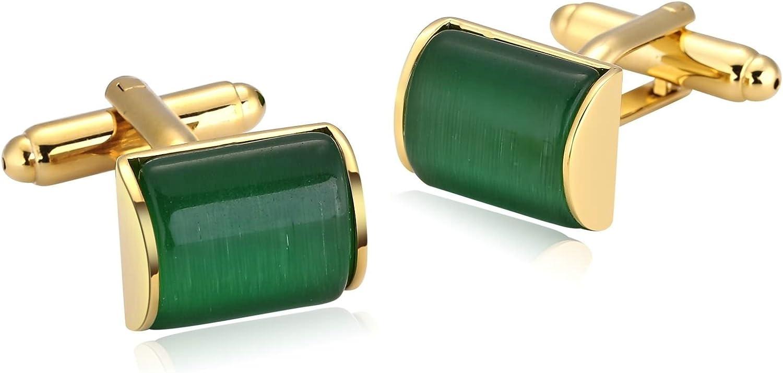Blisfille Gemelos 2 Pieces Gemelos Novio Boda Joyeria de Acero Inoxidable,Cristal Semicilíndrico Joyeria de Fiesta