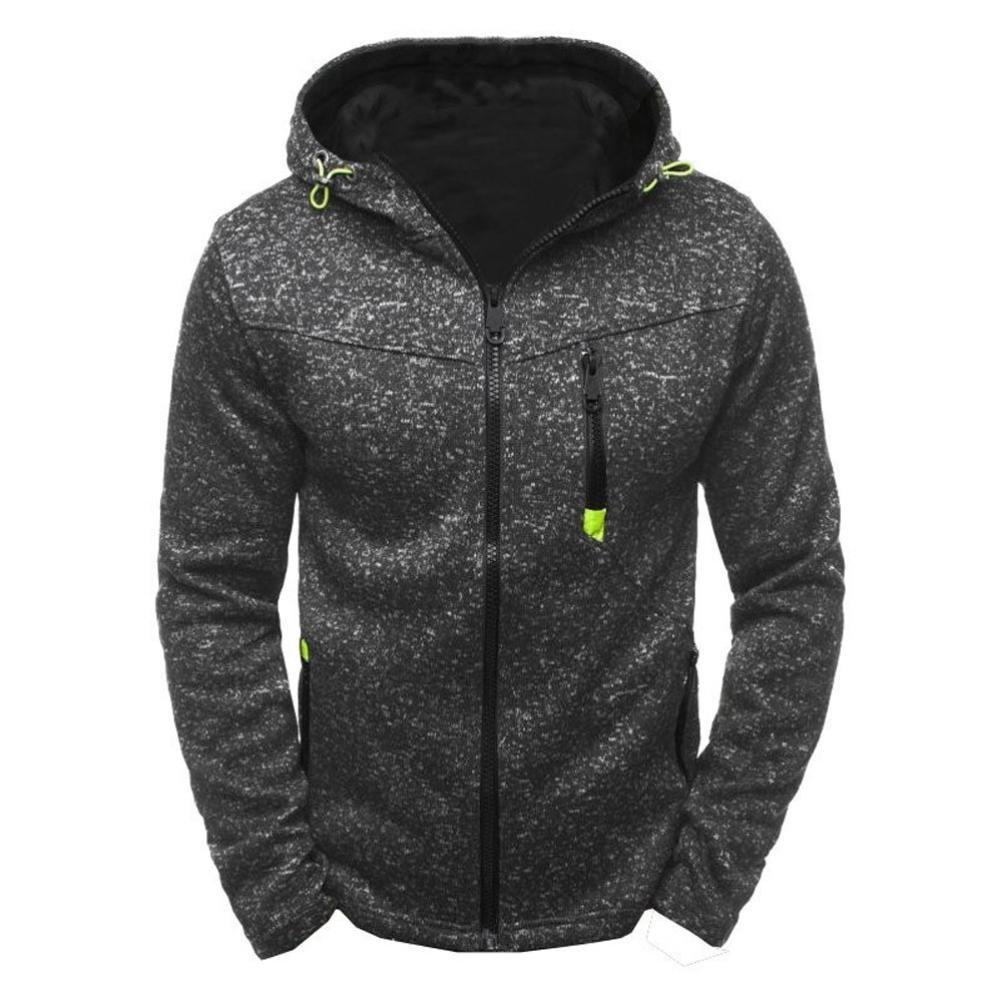 HOT ! YANG-YI Winter Men's Hoody Zipper Slim Hoodies Sweatshirts Pullover Coat Jacket (Black, M)