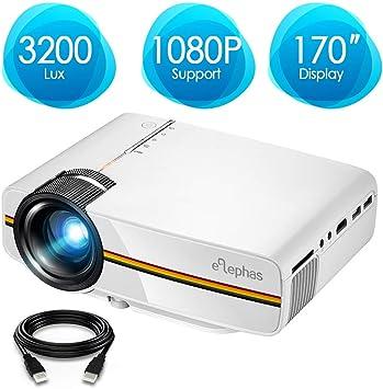 Proyector portátil de vídeo mini Elephas LED, 1080P, ideal para ...