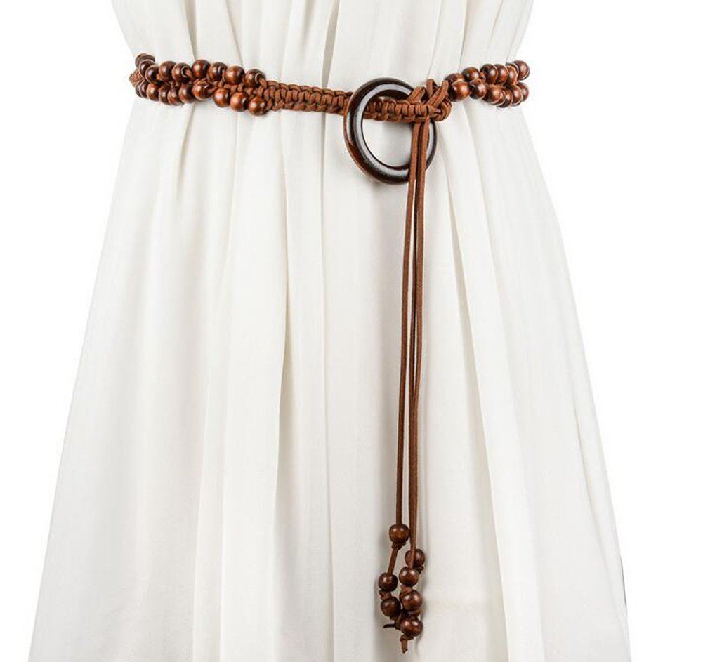 Women Bohemian Chain Wood Waist Belt With Dress and Sweater Knotted Decorated (Model A) FQB001