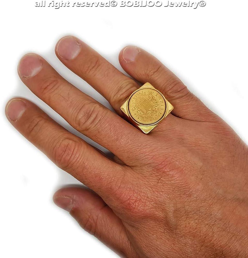 BOBIJOO Jewelry Chevali/ère Bague Napoleon III Pi/èce Empire Fran/çais 20 FRS Plaqu/é Acier Or Carr/é Plein Louis