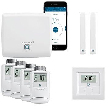 Control para calefacción HomeMatic IP, inalámbrico, Smart Home, paquete completo para 4 radiadores