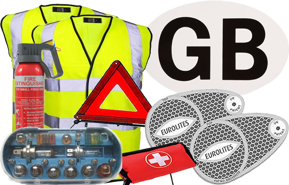 European Travel Kit 4 Hi-Vis Jacket, Adhesive GB Sticker, 2 x Beam Benders, H7 Bulb Kit, Warning Triangle, First Aid Kit, 600g Fire Extinguisher