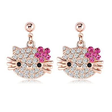 490d37ede Buy Zorah Rose Gold Plated Hello Kitty Stud Earrings for Women and Girls  Studded with Austrian Crystal SWA Elements- Rose Gold Online at Low Prices  in India ...