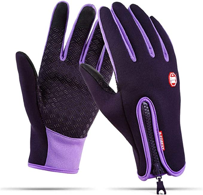 heekpek Mens Gloves Touchscreen Waterproof for Winter Outdoor Sports Black//Blue//Purple