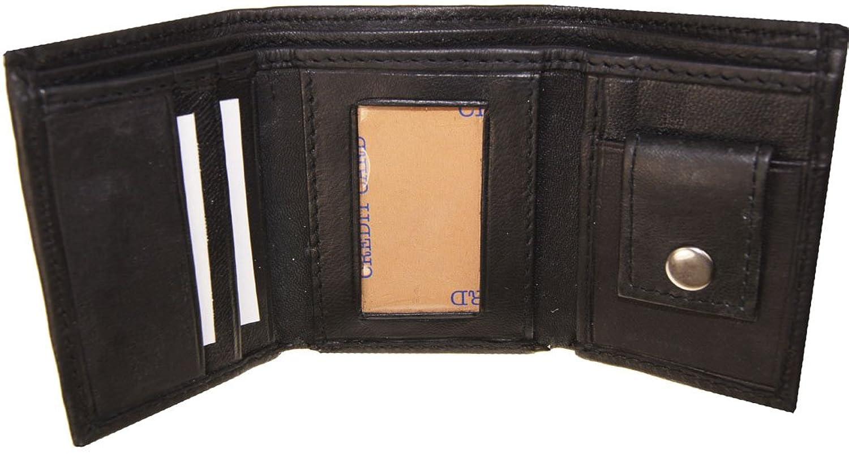 "AG Wallets Kids Genuine Leather Tri Fold Black Wallet 3"" x 2.5"" (Black)"