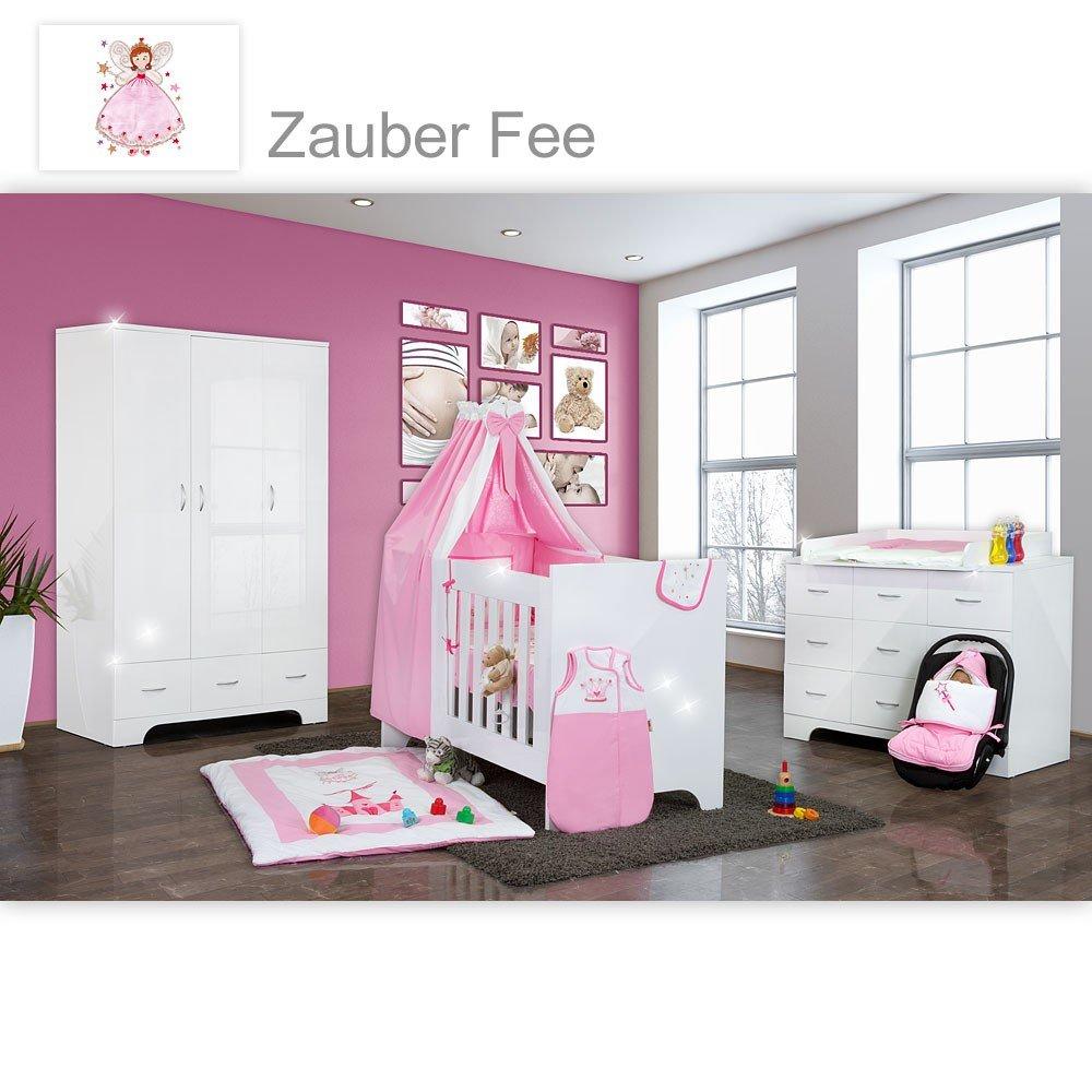 Hochglanz Babyzimmer Memi 19-tlg. mit Textilien von Zauber Fee in Rosa