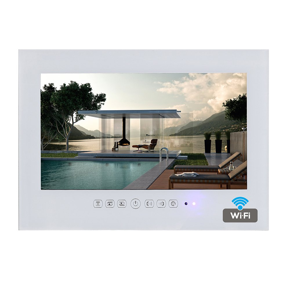 Soulaca 19'' Frameless Android Smart White Bathroom TV Built-in WiFi T190FA-W2