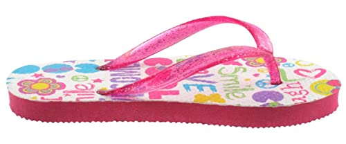 3848ded4d3 Capelli New York Glitter Jelly Thong with Cool Collage Print Girls Flip Flop  White Combo 12