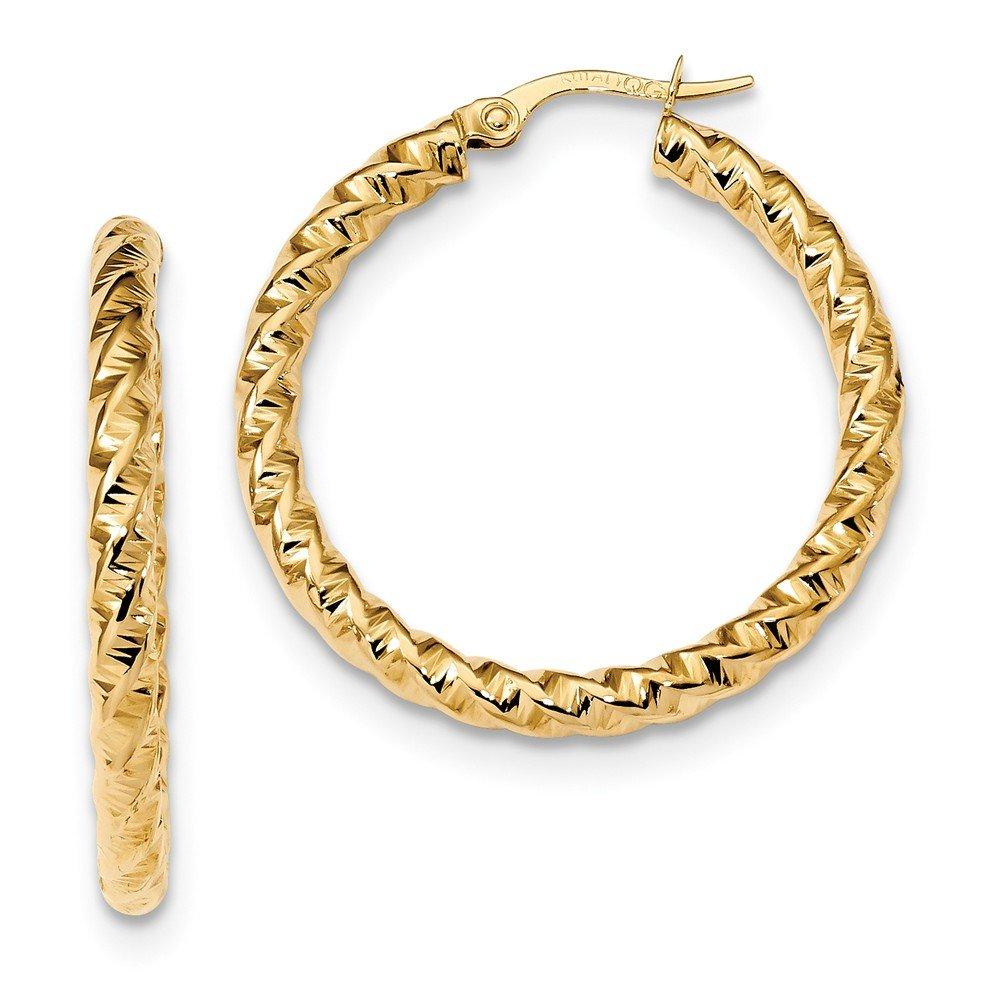 Mia Diamonds 14k Yellow Gold Gold Polished 3mm Twisted Hoop Earrings