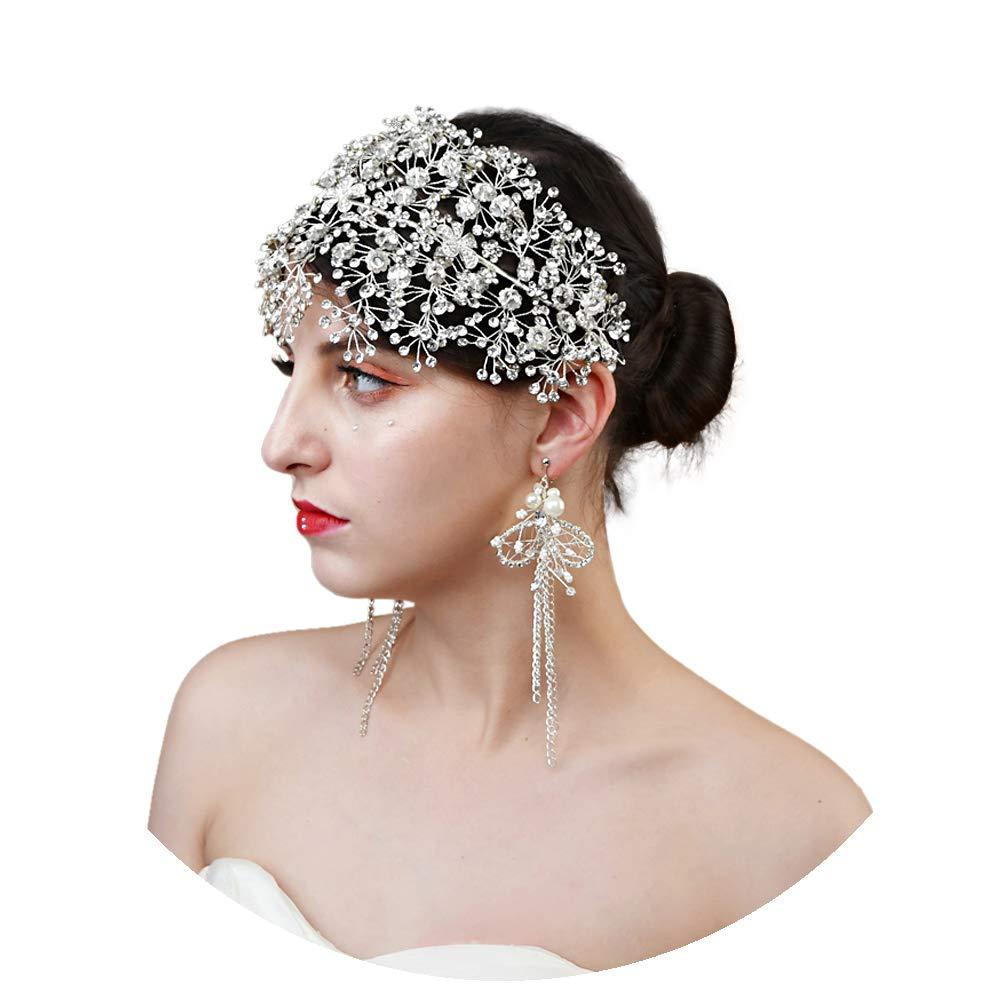ULAPAN Crystal Bridal Headpiece Silver Wedding Headband for Brides Hair Vine Rhinestone Hair Accessories for Women by ULAPAN