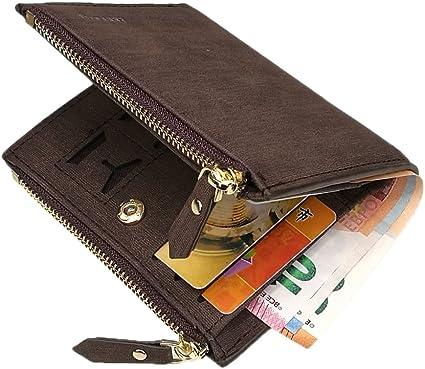 Nouveau RFID Blocage Protection Anti-vol Scan Hommes Biflod Portefeuille Court Zipper Coin Case Pouch Casual PU Porte-Monnaie en Cuir Chaud